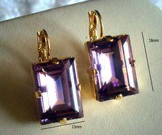 Swarovski elements light amethyst June birthstone step cut fancy stone leverback earrings,14k gold plated,pretty light purple colour