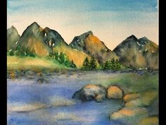 Mountain-scape watercolor tutorial, step by step easy to follow