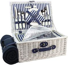 Amazon.com : Picnic Basket Willow for 4 Persons, Large Wicker Hamper Set with Big Insulated Cooler Compartment, Free Fleece Blanket with Waterproof Backing and Cutlery Service Kit- Fashionable White Washed Color : Garden & Outdoor Picnic Set, Picnic Time, Long Stem Wine Glasses, Basket Willow, Wicker Hamper, Camping Box, Blue And White Shirt, Wicker Picnic Basket, Outdoor Patio Umbrellas