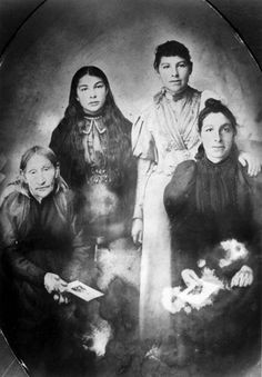 Three generations of the Desjarlais family, Labret, late 1890s. Left to right: Magdeleine Klyne; Marie Justine and Rosine Desjarlais; Magdeleine Desjarlais.  Saskatchewan Archives Board.