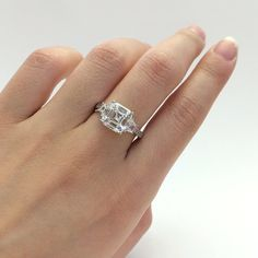 $66  2.40 Carats Asscher Cut Diamond Simulant Engagement by Besbelle