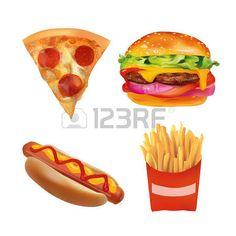 pizza slice: Vector Realistic fast Food Set. Burger, Pizza Slice, Beverage…