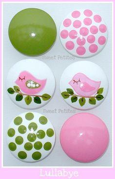 Hand Painted Knob Dresser Drawer Lullabye Birdies Polka Dots. $6.00, via Etsy.