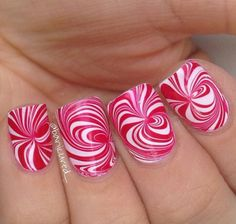 Swirly peppermint water marble nail art,  Christmas nails