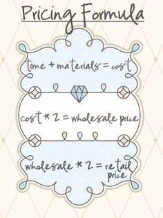 A pricing formula for selling crafts and other products. Determine costs, wholesale and retail prices. For etsy and craft store owners and small business startup owners and beginners who want to get ahead of the competition. La Petite Boutique, A Boutique, Couture Boutique, Mobile Boutique, Boutique Clothing, Craft Projects, Sewing Projects, Sewing Tutorials, Sewing Crafts