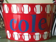 I also want to make buckets for the boys to keep in the dug out and put their helmets, gloves, etc in. Baseball Party, Baseball Birthday, Sports Party, Baseball Buckets, Baseball Crafts, Baseball Mom, Softball, Baseball Stuff, Volleyball