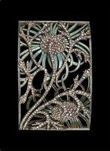 René Lalique. 1899-1901 Dog Collar Plaque w/floral motif. Gold, enamel, diamond