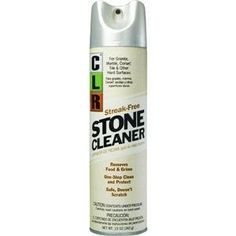 """Jelmar CGS-12 12 Oz. CLR Stone Cleaner by Jelmar. $6.99. Removes food and grime from stone surfaces.. One step stone cleaner and protector.. """"JELMAR COMPANY"""" STONE CLEANER. Safe for granite, marble, Corian, tile and other h. 12 oz. aerosol.. Aerosol CLR stone cleaner for use with granite, marble, Corian, tile, and other hard surfaces. Provides a streak free shine. Safe to use and will not scratch. Removes food and grime with 1 step cleaning and protection. 12 oz."""