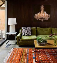 orange rug + green couch