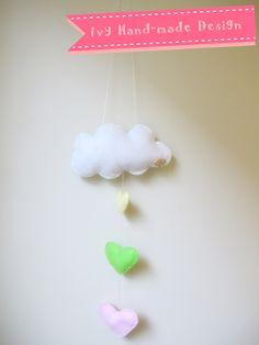 Handmade Cloud Mobile with hearts Felt Wall Hanging, Cloud Mobile, Hand Stitching, Hearts, Handmade, Design, Hand Made, Handarbeit