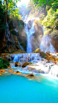 Kuang Si Falls are some of the most beautiful waterfalls in Southeast Asia. Beautiful Places To Travel, Cool Places To Visit, Beautiful World, Amazing Places, Beautiful Waterfalls, Beautiful Landscapes, Nature Pictures, Beautiful Pictures, Imagen Natural