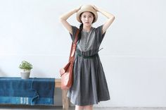 2colors gray/creamy loose casual cotton linen dress by ideacloth, $58.00