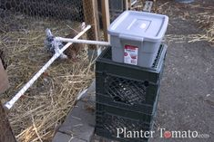 DIY Chicken Waterer - attached to a tub, so you can fill and leave. Would change for insulated tub of some sort (cooler? Chicken Water Feeder, Chicken Feeders, Chicken Coops, Keeping Chickens, Raising Chickens, Homemade Chicken Waterer, Automatic Chicken Feeder, Chicken Garden, Pet Chickens