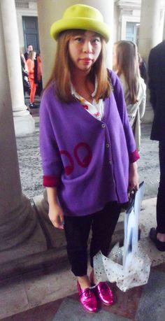 #cardigan #hat #shoes #metallic #pink #purple #lime #red #fashion #london #lfw