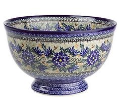 Polish Stoneware Heaven's Own Blue Wedding Bowl