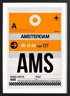 AMS-Amsterdam - Naxart - Affiche premium encadrée