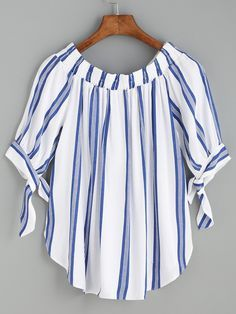 SheIn offers Blue Vertical Striped Tie Sleeve Curved Hem Blouse & more to fit your fashionable needs. Simple Dresses, Casual Tops, Blouse Designs, Fashion Outfits, Fashion Styles, Women's Fashion, Sleeves, Clothes, Blouse Online