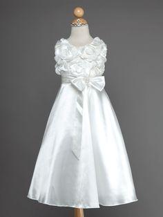 3364dbb760ca0 Satin Flower Girl Dress with Rosettes Bodice - Flower Girl Dresses