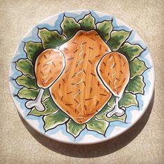 #sberna #art #pottery #ceramics #deruta #madeinitaly #love #handmade #drawing #handpainted #handcraft #colours #plate #chicken #salad #lunch #meal #cartoon #sketch