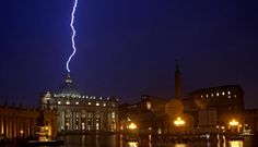 Lightning strikes Vatican hours after Pope's Resignation    The lightning touched the roof of St. Peter's Basilica, one of the  holiest Catholic churches, hours after Benedict XVI's shock announcement
