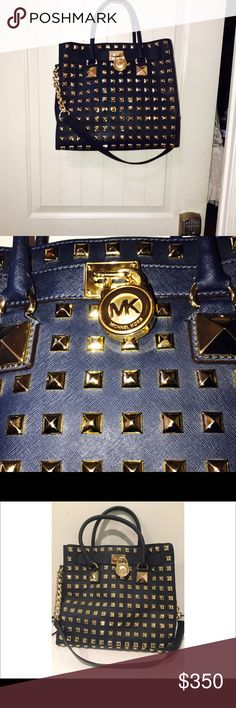 Authentic navy studded large Hamilton very nice Authentic micheal kors large Hamilton studded very great condition will trade for a medium Hamilton Michael Kors Bags Shoulder Bags