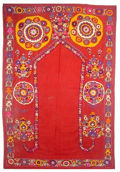 "Uzbek silk embroidery suzani ""Joinamoz"" ( prayer rug), 57"" x 84"" beginning of the 20th century."