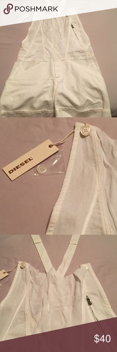 Women's diesel white overall shorts These overalls are in mint condition, never worn , still with tags, size xs, super cute white shirt design. Let me know if you are interested. Diesel Other