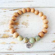 I Attract Peace Bracelet, Aqua Terra Jasper & Rosewood Bracelet, Tree of Life