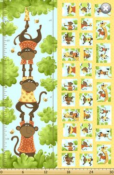 Oolie The Monkey Growth & Patchwork Fabric Panel The World Of Suzybee 100%Cotton