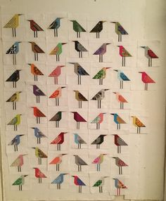 To whoever wanted to know how many birds I was making the answer is: I have no idea, nor do I care. When the design wall gets close to full, I'll take them down and start playing with them. The layout