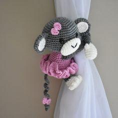 Tutu Monkey curtain tieback crochet PATTERN right or left Crochet Monkey, Crochet Baby Toys, Knit Or Crochet, Crochet For Kids, Double Crochet, Easy Crochet, Crochet Stitches, Crochet Patterns, Adjustable Ring Crochet