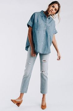 Very Jean Top - cladandcloth Denim On Denim, Distressed Denim, Spring Summer Fashion, Spring Outfits, Minimal Outfit, Double Denim, Street Style, Minimalist Fashion, Pretty Outfits
