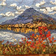 Sinkut Mt. from Nulki by Shelley Van Erp, BC Canada Original design hooked using hand dyed wools and yarns