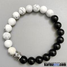 ENCOURAGEMENT: White Turquoise | Black Onyx Yoga Mala Beaded Bracelet