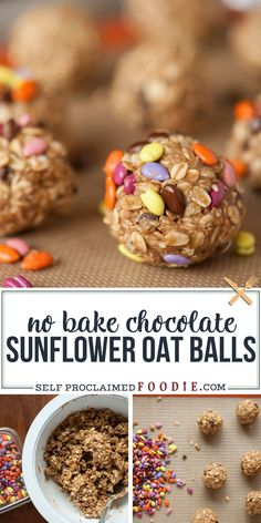 No Bake Chocolate Sunflower Oat Balls are healthy nut-free snacks that are high in protein and fiber and are a tasty little snack that kids love. #sunflower #oat #nutfree #nobake #sunflowerbutter #sweet #healthy #snack Delicious Cookie Recipes, Yummy Cookies, Yummy Snacks, Snack Recipes, Dessert Recipes, Yummy Food, Tasty, Desserts, Healthy Protein Bars