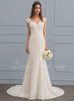 c12e1a1bd77c   245.99  Trumpet Mermaid V-neck Court Train Lace Wedding Dress (002118442)