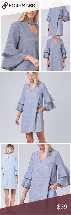 NEW ARRIVAL RUFFLE CHAMBRAY DRESS Gorgeous navy& white 3/4 Double Ruffle Sleeve Chambray.  V Cutout Dress with Pockets. High Quality Cotton/Linen Chambray Fabric. 3/4 Length Double Ruffle Sleeve Detail. High Round Neckline with V Neck Cutout. Keyhole Back with Button/Loop 55%LINEN, 45%COTTON Angelique's Atelier Dresses