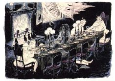 Marc Davis illustration of the Dining Room in the Haunted Mansion