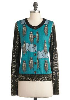 inspired by owl tribute & doodle style Owl Time Flies Cardigan, #modcloth #chu