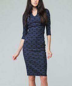 Love this Blue & Black Sheath Dress on #zulily! #zulilyfinds