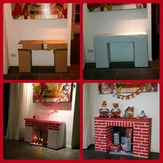 Open haard Diy Christmas Fireplace, Diy Fireplace, Christmas Love, Handmade Christmas, Christmas Crafts, Christmas Chair, Playhouse Furniture, Cardboard Furniture, Cardboard Crafts