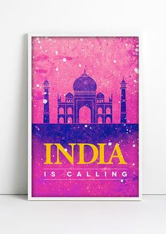 INDIA Travel Poster Watercolor Illustration TAJ MAHAL by Fybur, $12.00