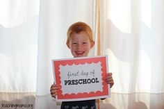 First Day of Preschool {free printable}