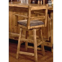 International Furniture 24-Inch Lodge Swivel Counter Stool with Arms - Lacquer - Bar Stools at Hayneedle