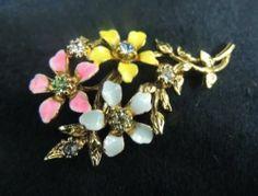 Vintage Rhinestone Brooch Pin AB Gold Shiny Flower Pink Yellow Blue Pastel
