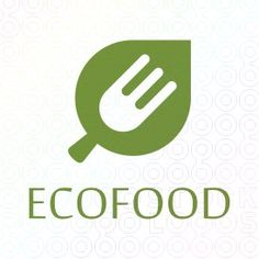"""Ecofood+logo Simple flat green logo featuring the leaf and fork in one sign and in negative space can be seen the letter """"E""""."""