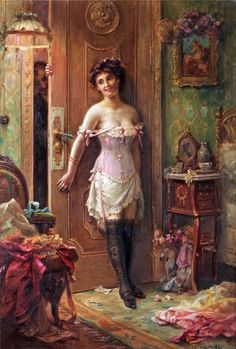 Hans Zatzka The Amorous Visitor print for sale. Shop for Hans Zatzka The Amorous Visitor painting and frame at discount price, ships in 24 hours. Victorian Paintings, Victorian Art, Victorian Women, Victorian Corset, Romantic Paintings, Classic Paintings, Beautiful Paintings, Art Magique, Classical Art