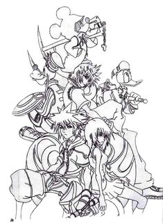 kingdom hearts coloring pages here home sora sora and friends at kingdom hearts 2 - Coloring Pages Hearts 2