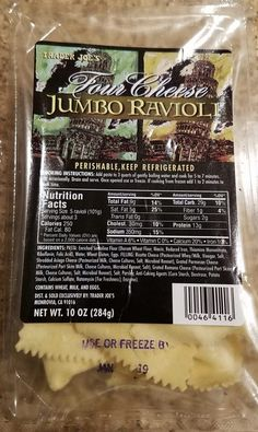 Trader Joe's Four Cheese Jumbo Ravioli makes for a quick dinner. A full product review including pictures, thoughts and product information posted.