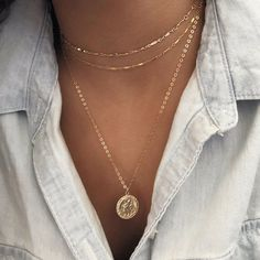 wedding jewelry Gold Coin necklace - Gold Medallion Necklace - Miraculous gold necklace- St Christopher - Gift for her Gold Coin Necklace, Emerald Necklace, Diamond Solitaire Necklace, Moon Necklace, Gold Bracelets, Diamond Earrings, Silver Earrings, Gemstone Necklace, Silver Jewelry